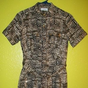 CALVIN KLEIN Print Belted DRESS